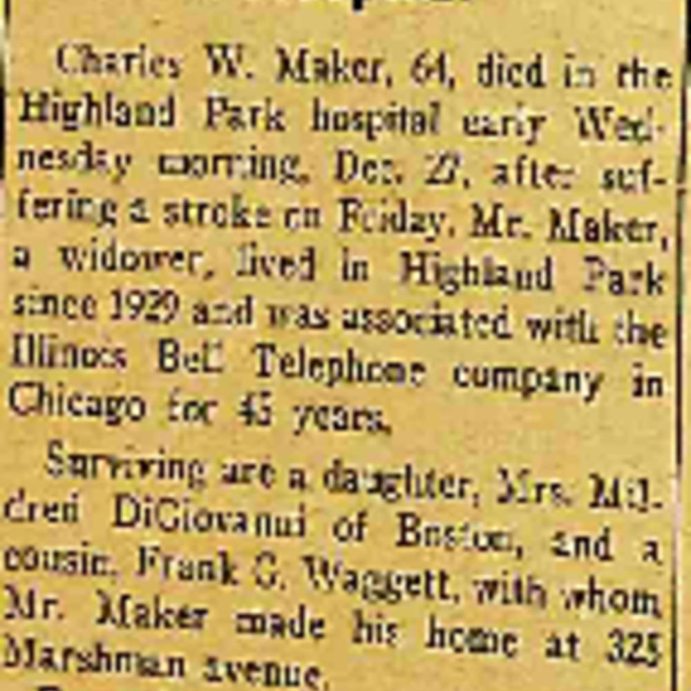 Charles W. Maker Obituary