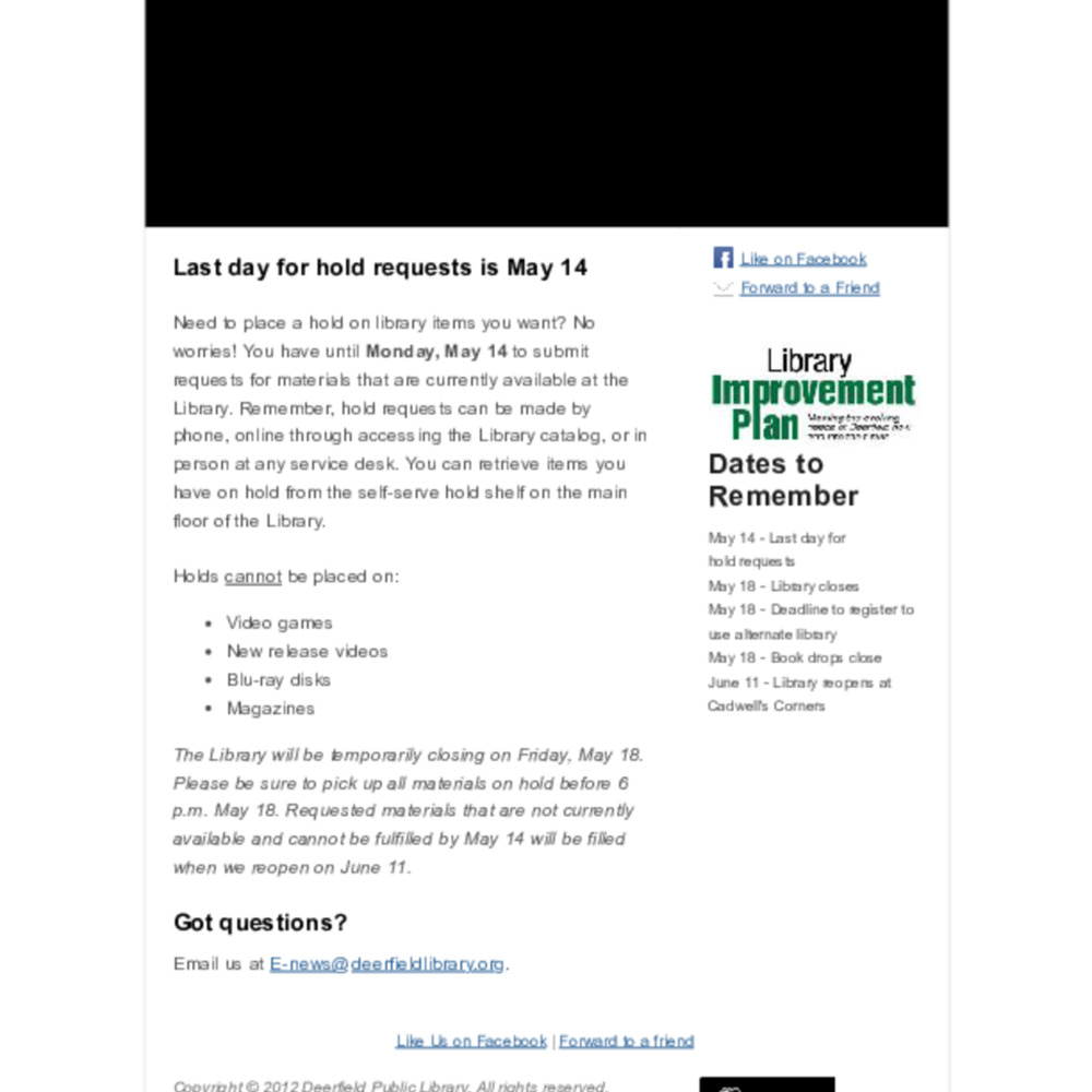 First to Know E-News | May 2, 2012