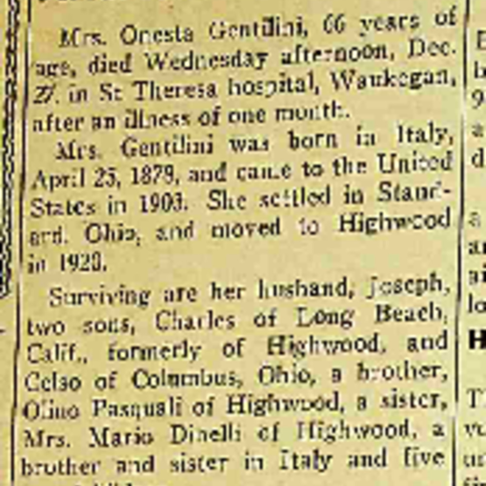 Onesta Gentilini Obituary