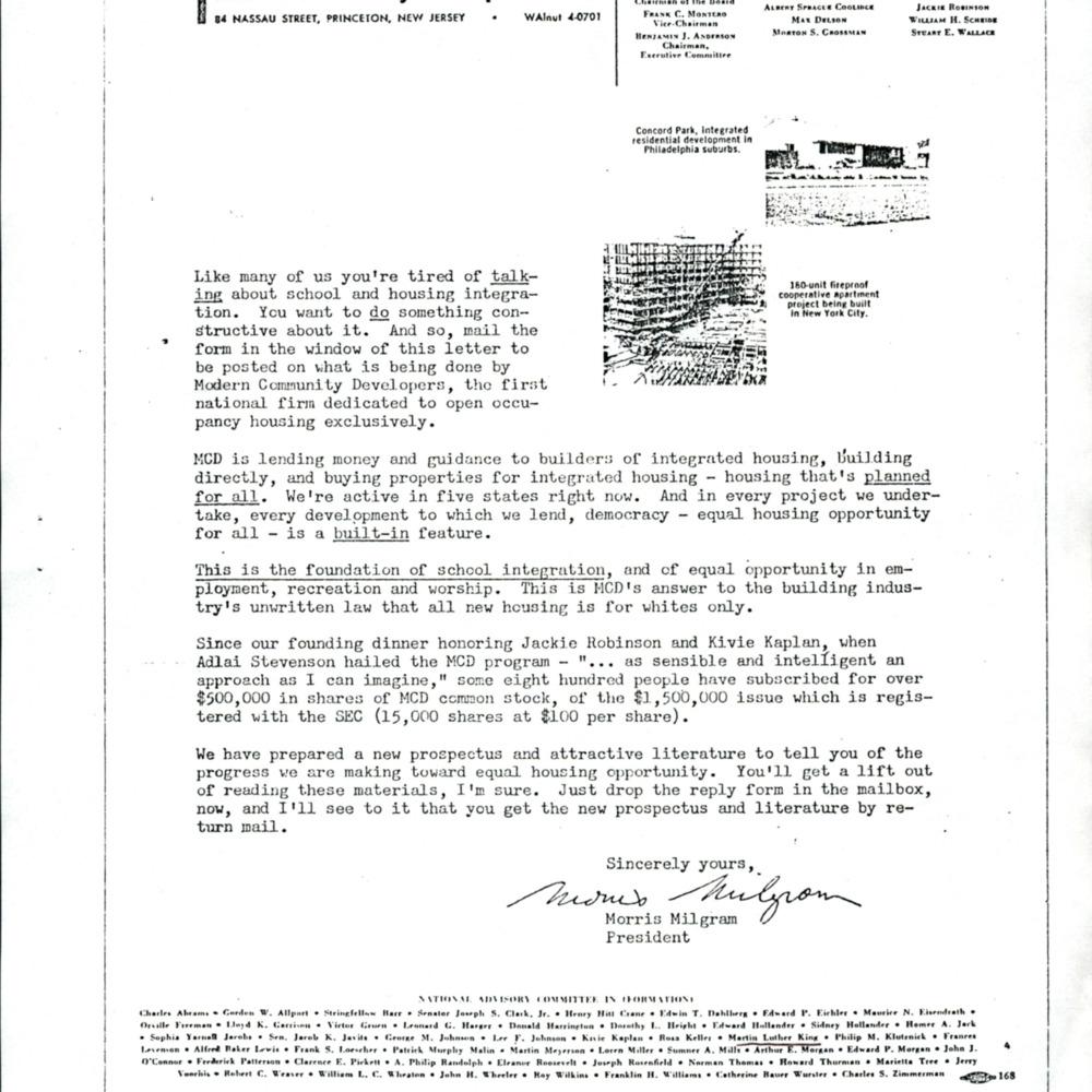 Letter from Morris Milgram