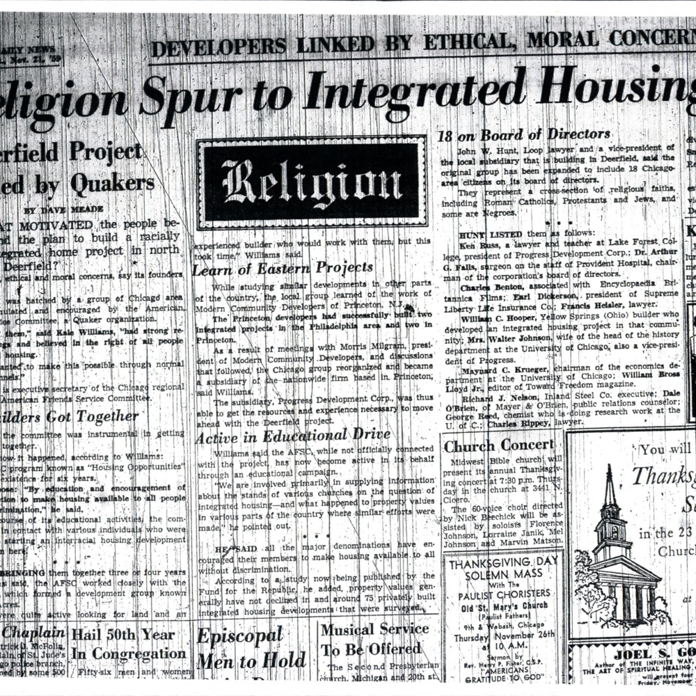 Religion Spur to Integrated Housing Program