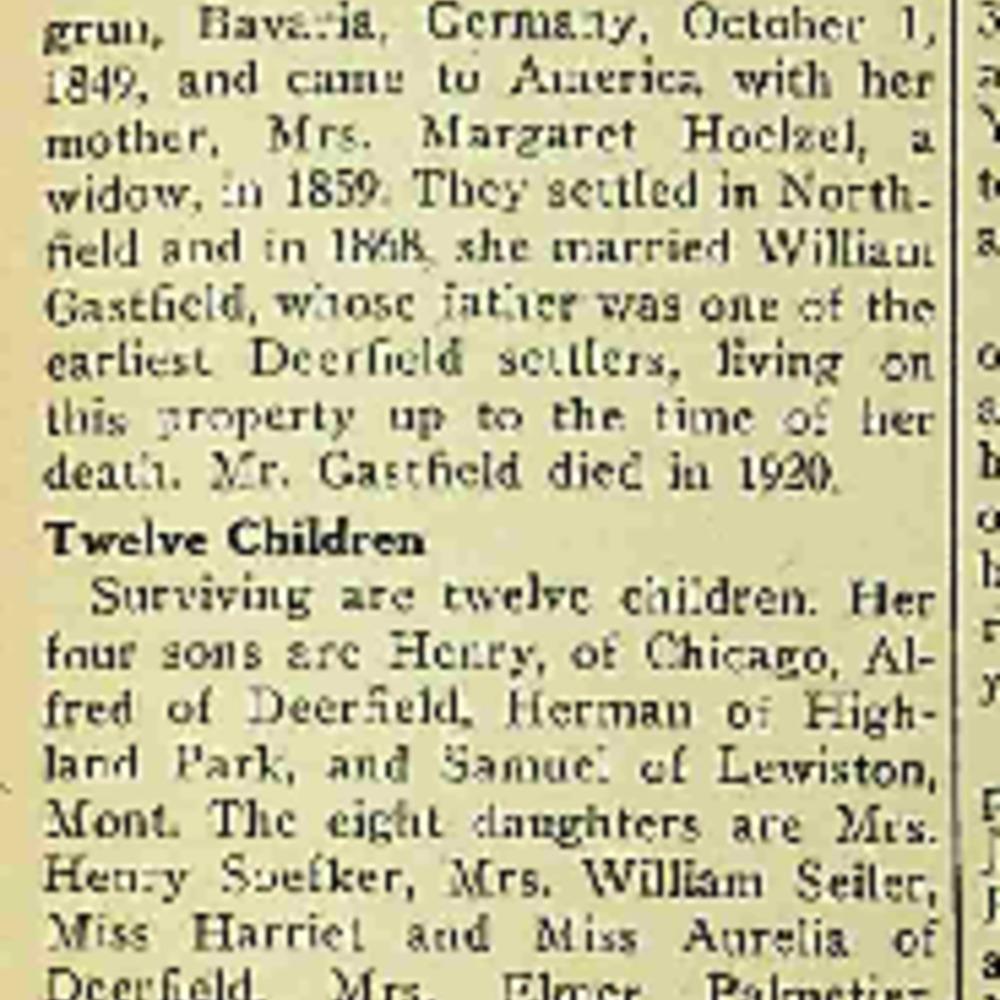 Margaret Gastfield Obituary