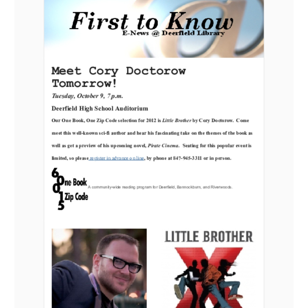 2012-10-8 First To Know! E-news-Cory Doctorow visit 10-5.pdf