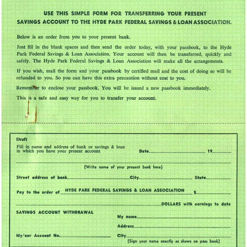 Form -- Transferring Savings Account to Hyde Park Federal Savings and Loan Association